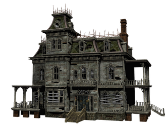 Haunted House 03 PNG Stock by Roy3D