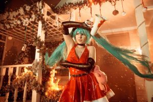 Miku Cosplay Christmas Destruction by Rubrum-Cervi