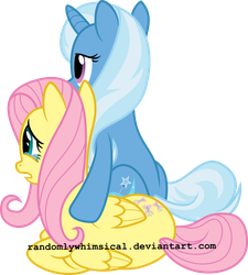 Commission: Fluttershy and Trixie by RandomlyWhimsical