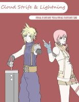 Cloud Strife + Lightning by luzzy