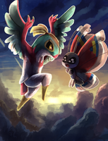 Hawlucha and Vivillion
