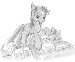 Twilight does science on buildings by AlloyRabbit
