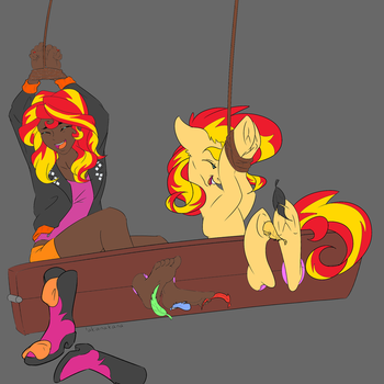Sunset Shimmer Tickling (Human) by ice1517