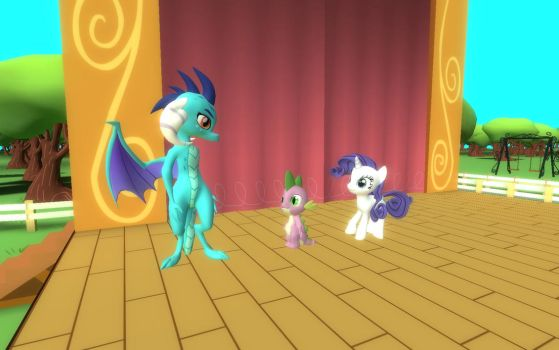 Ember, Spike, and Rarity On Stage by Eli-J-Brony
