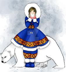 Girl and Bear by Loline