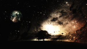 Tree and Stars with Mars theme by Linux-Shines