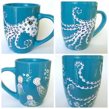 Octopus Mug - Hand painted coffee cup for sale! by InkyDreamz
