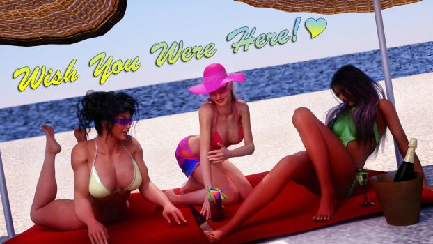 Solid Sisters Beach Postcard by zzzcomics
