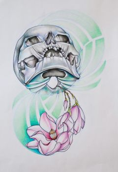 skull with magnolias by kala91