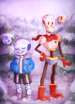 Sans and Papyrus by treblakochka