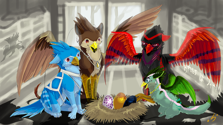 Commission - Unsere Greif-Familie by GroxikavonDarkside