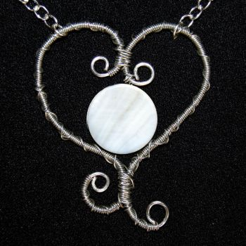 Wire Wrapped Heart Pendant Necklace by craftymama
