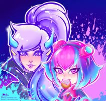 Super Galaxy Nidalee and Annie by JamilSC11