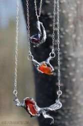 Spring Garnet and Agate Necklaces by bug-in-my-eye