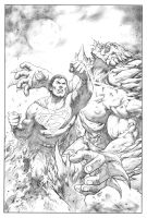 Superman VS Doomsday pencils by FlowComa