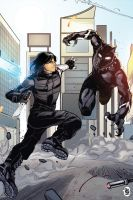 Bucky vs Black Panther by ChickenzPunk
