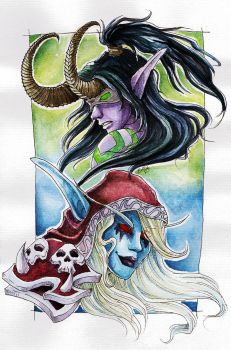 Illidan and Sylvanas - Watercolour by cowgirlem