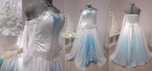 White and Blue Ombre Fantasy Wedding Gown by Firefly-Path