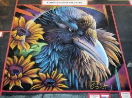 Raven in Sunflowers Chalk Art by charfade