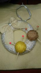 crochet'd...knitting ball wreath?  by passionfyre