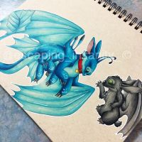 Toothless and Stitch by escapinginsanity