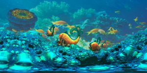 Coral Reef with fractal fishes by marijeberting