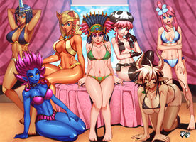 COMMISSION : Enducer51 Bikini Harems by jadenkaiba