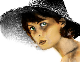Girl in Sunhat (Colored) by rjakobson