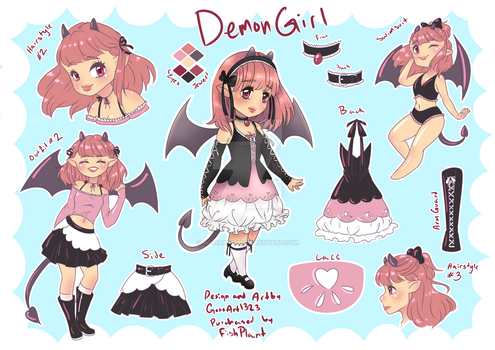 Demon Girl Adoptable Character Sheet  (SOLD) by GossArt1323