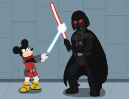 Jedi Mickey Mouse VS Darth Vader by MCsaurus