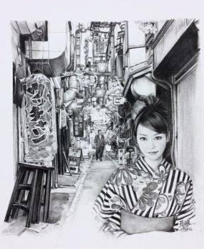Pencil drawing of actress Mirei Kiritani by chaseroflight