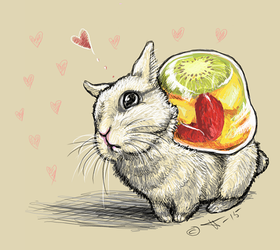 Little bunny with a fruit jelly on its back by shivikai