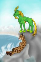 Kirin and Fishing Cat by Akril15