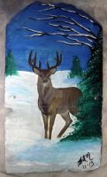 A deer in snow on a shale by KenshinKyo