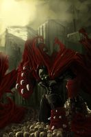 Spawn rises between skull city by Harelf-L