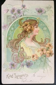 Vintage 1907 Postcard - Art Nouveau Girl by KarRedRoses