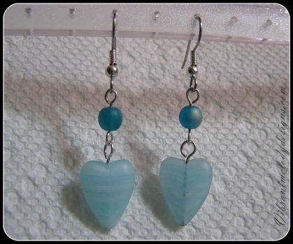 Glass Sky Blue Heart Earrings by vibrantmelodydesigns