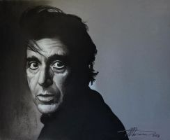 Mr. Al Pacino (charcoal and white pencil on tint by AdrianMoraru