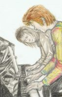David Bowie playing piano with Mick Ronson by gagambo