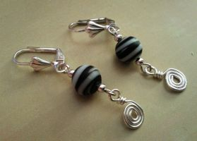 gray spheres and silver wire earrings by syn-O-nyms