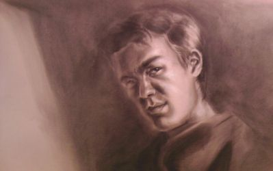 Self-portrait Charcoal on toned paper by SinglePolygon