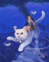 Riding a white cat by Grey-Seagull