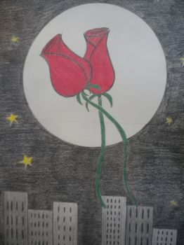 Two Roses dance at the Full Moon by FirstLoveOfArt