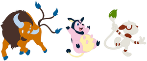 Tauros, Miltank and Smeargle Base by SelenaEde
