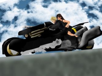 Cloud Riding With Tifa by IntenseObservation