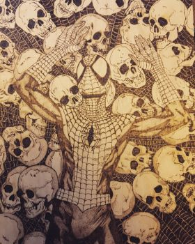 Spider-man pyrography  by Blindfaith-boo