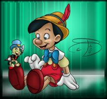 Dailey Disney - Pinocchio and Jiminy by RCBrock