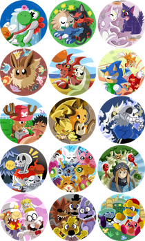 ALL 15 Buttons of Many Franchises for Con Sales! by SoftMonKeychains