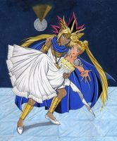 Pharaoh Atemu and Sailor Moon by Yamigirl21