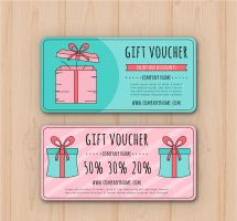 2 Colorful Gift Voucher Design Vector by FreeIconsdownload
